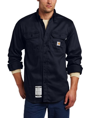 Carhartt Men's Big & Tall Flame Resistant Lightweight Twill Shirt,Dark Navy,X-Large Tall