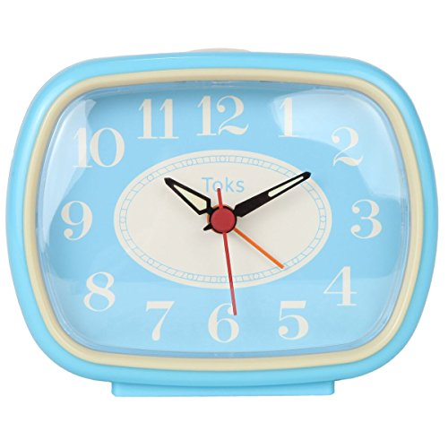 Lilys Home Quiet Non-Ticking Silent Quartz Vintage/Retro Inspired Analog Alarm Clock - Vintage Blue