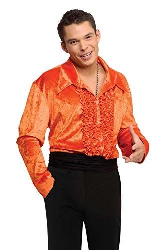 Adult Disco Shirt Costumes (Men Large (Jacket Equivalent Up to 42) Velvet Disco Shirt in Orange)
