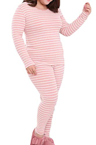 (KLJR Women Striped Plus Size Warm Union Suit Underwear Set Sleepwear Pajama Jumpsuit Pink US)