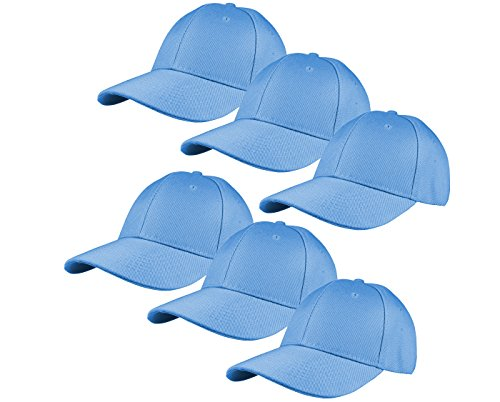 Gelante Plain Blank Baseball Caps Adjustable Back Strap Wholesale Lot 6 Pack - 001-Sky Blue-6Pcs Blue Sky Cotton Cap