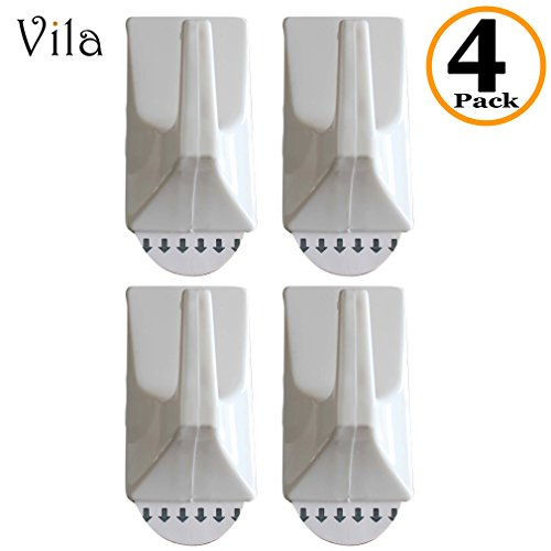 4 Self-Stick Multi-Purpose Utility Hooks by Vila: Sturdy and Strong, Holds up to 2 lbs: Easy Removal with NO Wall Damage: Perfect for a Dorm Room or Rental Apartment ()