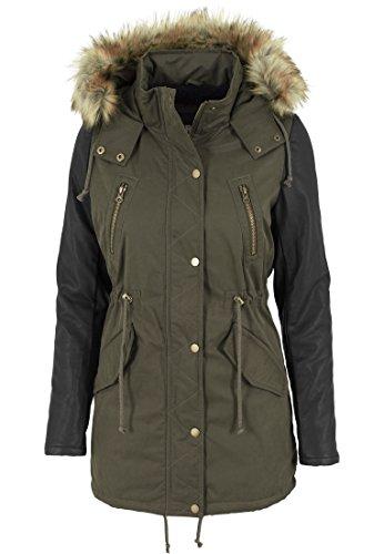 Urban Classics Jacke Leather Imitation Sleeve Parka-Chaqueta Mujer Multicolor (Olv/Blk)
