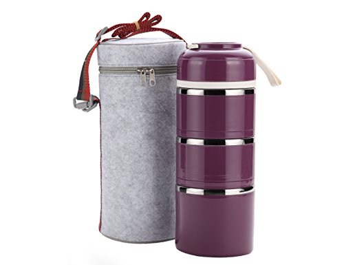 Stackable Lunch Box,ArderLive Portable Stainless Steel Insulated Lunch Box with Lunch Bag, BPA Free Leakproof Food Storage Container. (3-purple)