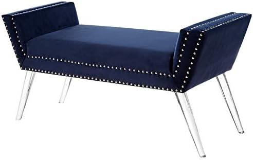 Posh Living Katherine Velvet Upholstered Bench with Acrylic Legs in Navy Blue