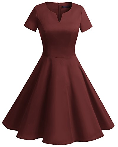 Bridesmay Women's Vintage 1950s Dress V-Neck Short Sleeves Retro Swing Dress Burgundy M -