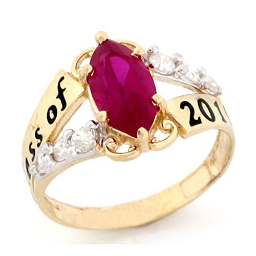 (14k Gold Simulated July Birthstone 2019 Class Graduation Ring)