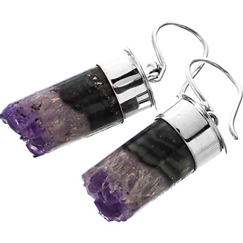 Amethyst Crystal Tube 925 Sterling Silver French Wires Earrings, - Amethyst Geode Silver Sterling