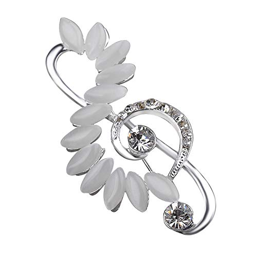 Dwcly Opal Music Note Brooch Pins for Women Hat Scarf Clip Cloth Accessory Bling Crystal Brooches (Silver)