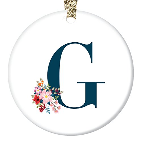 Letter G Ornament, Girls Name G Initial Christmas Porcelain Ornament, 3
