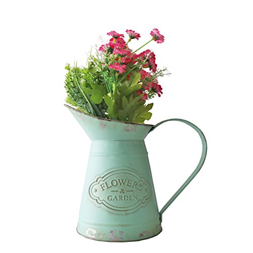 APSOONSELL Shabby Chic Rustic Style Metal Jug Pitcher Flower Vase Watering Can for Home Garden Decoration ()