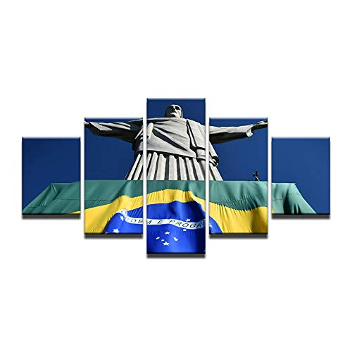 Fbhfbh 5 Pieces Brazil Rio de Janeiro Corcovado Jesus Statue of The Savior Canvas Oil Painting Home Decor Poster Pictures -12x16/24/32inch,Without Frame