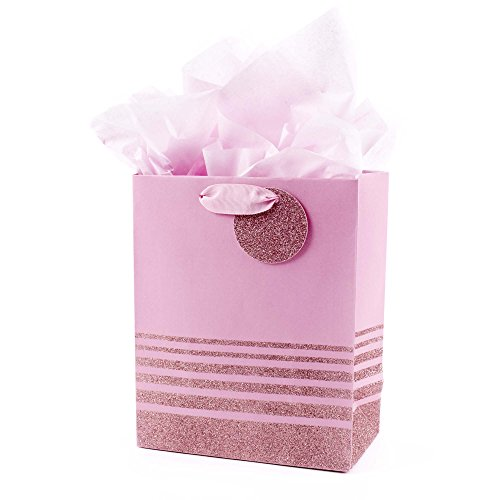 - Hallmark Medium Gift Bag with Tissue Paper (Pink Glitter Stripes)
