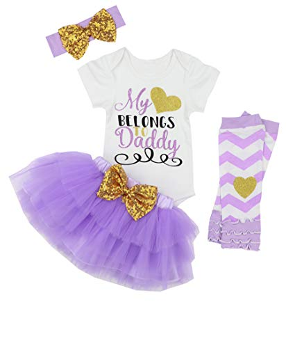 KANGKANG Happy Fathers Day Baby Girl Outfit My Heart Belongs to Daddy Rompers+Tutu Dresses Shorts+Headband 3-6 Months Purple -