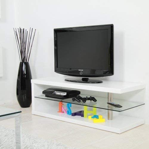 Lounge-Zone Diseño Tv Estante Mesa Mesa de Tele Mesa de Tv Led Oled LCD Cobra Mesita Baja, Alto Brillo Blanco, 120cm: Amazon.es: Hogar