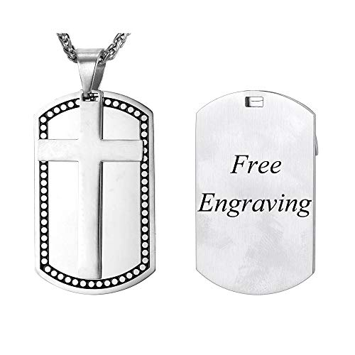 (U7 Two-Tone Metal Dog Tags Necklace Engraved with Bible Verse Words Men Women Fashion Religious Pendant, Back Side Customizable (Stainless Steel Cross Dog Tags (Personalized)))