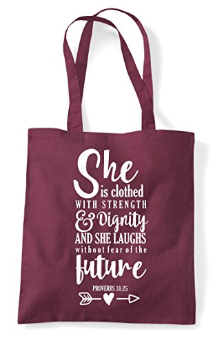 Is Strength Statement She Shopper Clothed Motivational Tote With Burgundy Bag 4BXxrdwqxt