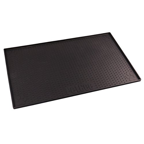 PETCEE Dog Feeding Mat,FDA Grade Silicone Waterproof Non-Slip Silicone Mat for Dogs (Black, 11.8x18.9 Inch)