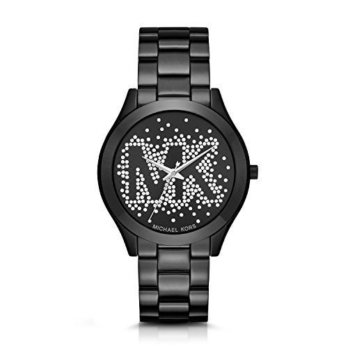 Michael Kors Women's Slim Runway Logo Black Watch MK3589