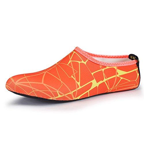 SABOLAY Escarpines para Mujer Orange Striped PqYUxPr