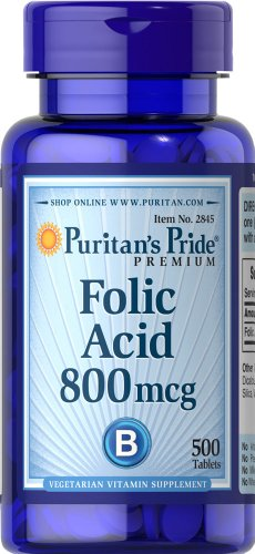 500 Mcg Folic Acid (Puritan's Pride Folic Acid 800 mcg-500)