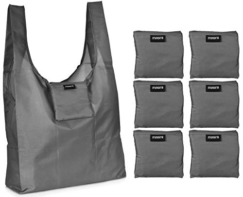 Reusable Grocery Shopping Bag – Replace Paper and Plastic Bags with these Large and Strong Eco Friendly Bags. The Bag Turns into a Carrying Pouch when Folded into Its Own Pocket. (Grey | 6-Pack)