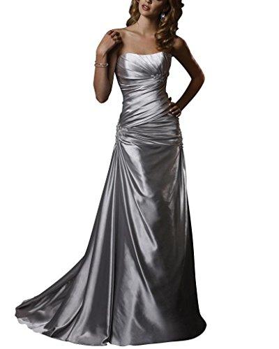 Perlen traegerlosen Brautkleider Applikationen Satin GEORGE BRIDE Hochzeitskleider Weiß Einfache UwCqC4A