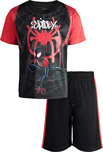 Marvel Spiderverse Spiderman Miles Morales Toddler Boys' Athletic T-Shirt Shorts 4T