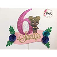 FULLY CUSTOMIZED LOL DOLL HAPPY BIRTHDAY PARTY (Any Age) and NAME, GLITTER with your CHOICE OF LOL Character and FLOWER COLOURS Cake Topper - Thick, Quality Card Stock with White or Transparent Stick - D&R Decor