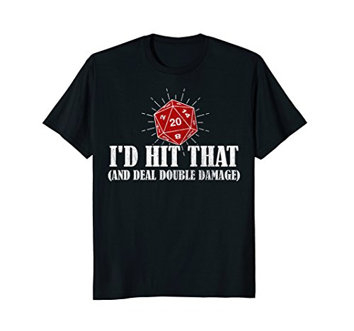 Mens DND D20 I'd Hit That Double Damage Dice Shirt Medium (Dice Print)