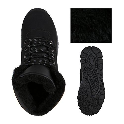 Stiefelparadies Herren Outdoor Boots Gefütterte Winter Schuhe Bequem Profil Sohle Flandell Schwarz Camiri