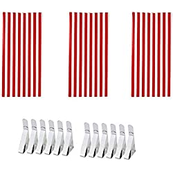Jetloter 3 Set Red & White Stripes Tablecloths with Tablecloth Clips Stainless Steel Table Cover Clamps for Party Events Camping