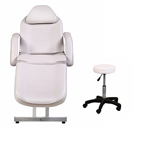 ColdBeauty White Adjustable Salon Barber Massage Beauty Bed with Hydraulic Stool Facial Acupuncture Chair ()