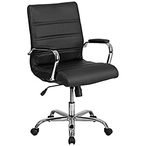 Flash Furniture Mid-Back Leather Executive Swivel Chair with Chrome Base and Arms