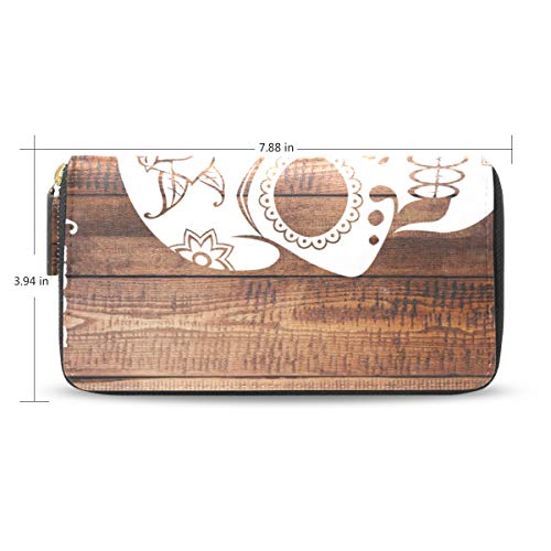 Women Wallet Purse Clutch Bag Skull Pattern Scary Halloween Zipper Leather -