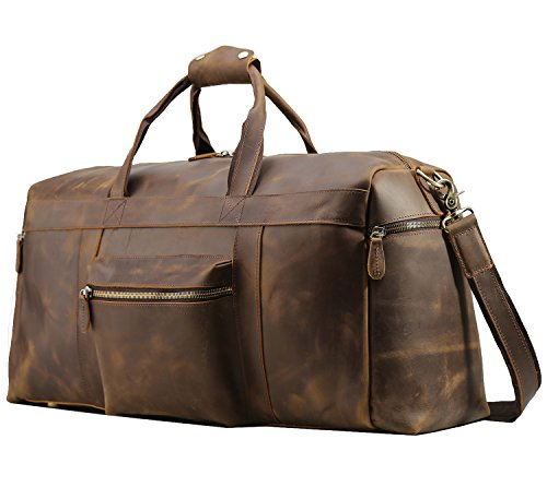 Texbo Men's Thick Cowhide Leather Vintage Big Travel Duffle Luggage Bag (Brown X Large 25'') by Texbo (Image #6)