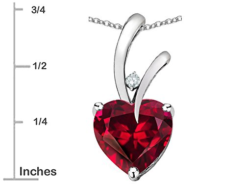 Star K Heart Shape 8mm Created Ruby Endless Love Pendant Necklace 10 kt White Gold by Star K (Image #3)