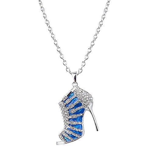 EVER FAITH High-Heel Blue Enamel Clear Austrian Crystal Pendant Necklace ()