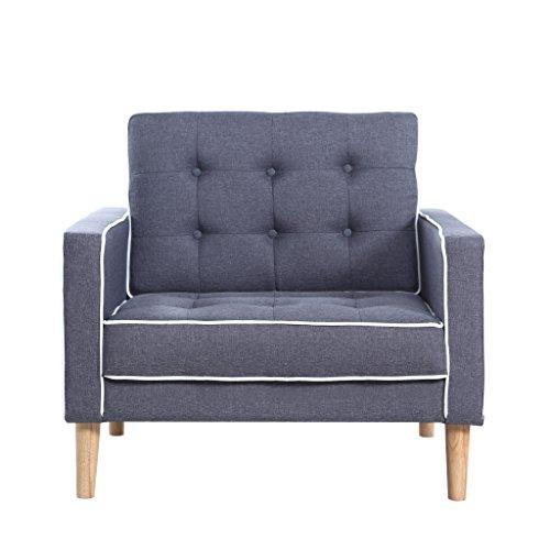 Mid Century Modern Two Tone Fabric Living Room Armchair Dark Grey