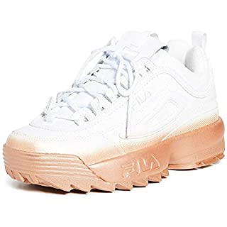 Fila Women's Disruptor II Brights Fade Sneakers, White/White/Rose Gold, 5 Medium US