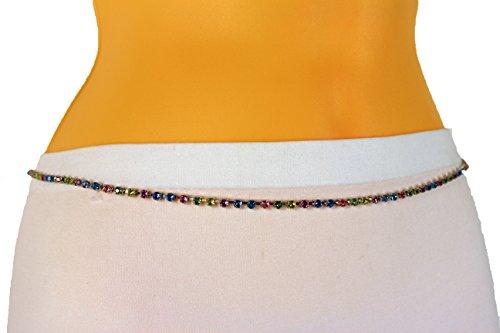 TFJ Women Skinny Silver Metal Classic Fashion Belt Hip High Waist Narrow Beads S M