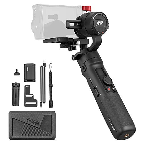Zhiyun Crane-M2 3-Axis Handheld Gimbal Stabilizer, Zhiyun Crane M New Upgrade Version in 2019 for Mirrorless Cameras Smart Phone and Action Cam, OLED, 360° Unlimited Rotation,Quick On/Off, Smart APP