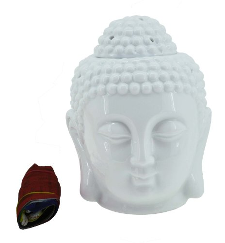 (Hinky Imports Mandala Crafts Porcelain Yoga Meditation Oil Burner Aromatherapy Diffuser (Buddha Head))