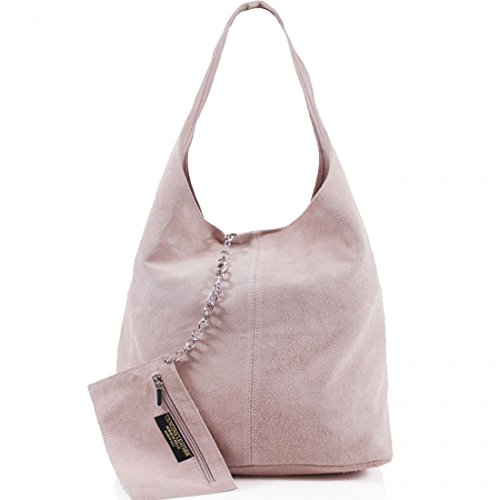 Ladies Women Real Suede Leather Hobo Shoulder Handbag (Light Pink)