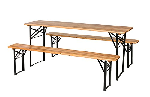 Cheap BuyHive 3PCS Patio Table Set Folding Picnic Dining Beer Table Bench Party Serve Wooden