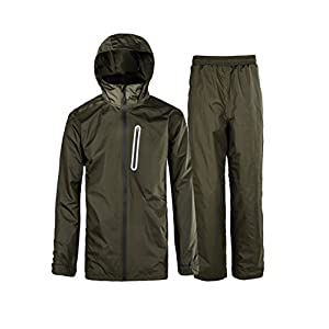 Waterproof Hooded Rainsuit Olive-Green Small