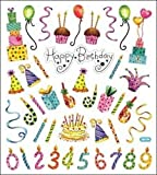 Bulk Buy: Tattoo King (6-Pack) Multicolored Stickers Happy Birthday Celebration SK129MC-4167