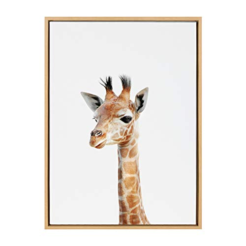 (Kate and Laurel Sylvie Baby Giraffe Animal Print Portrait Framed Canvas Wall Art by Amy Peterson, 23x33 Natural)
