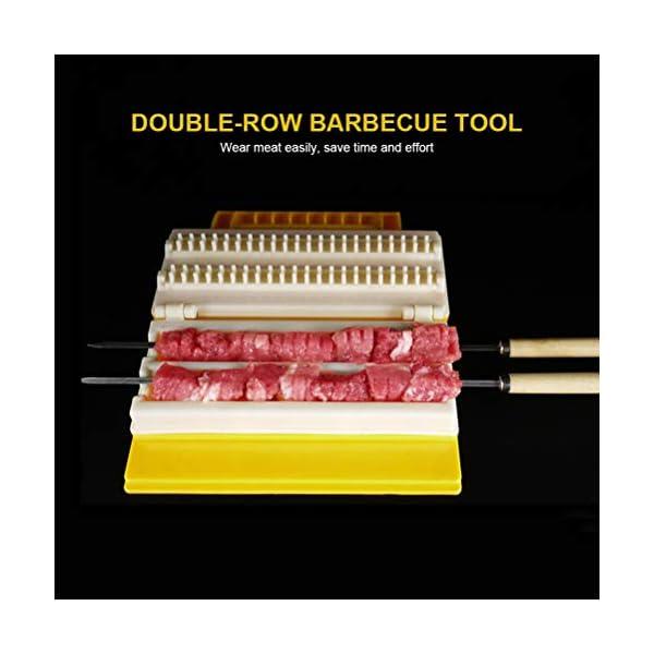 Fovely - Set di attrezzi per barbecue, pratico multifunzionale, doppia fila BBQ Meat Skewer ABS Plastic Meat Rope… 3 spesavip