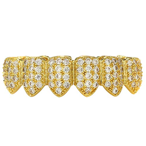 (NIV'S BLING - 18K Yellow Gold-Plated Cubic Zirconia Stainless Steel Grillz Bottom)